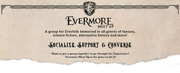 The logo for the Evermore Park Fan Community Facebook group. A place for all fans to meet up and converse about all things Evermore or fantasy related.