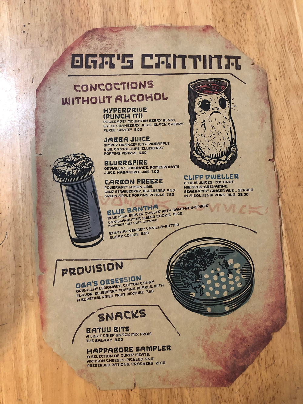 Menu From Oga's Cantina