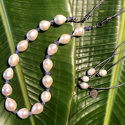 Tanzanite Teardrop Lei Necklace