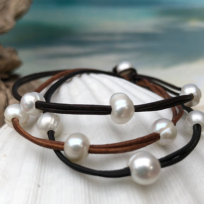 Simple 3 Pearl Slide Bracelet