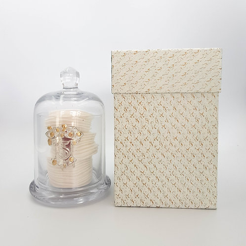 Glass Container & Dome with Cotton Wool Pads
