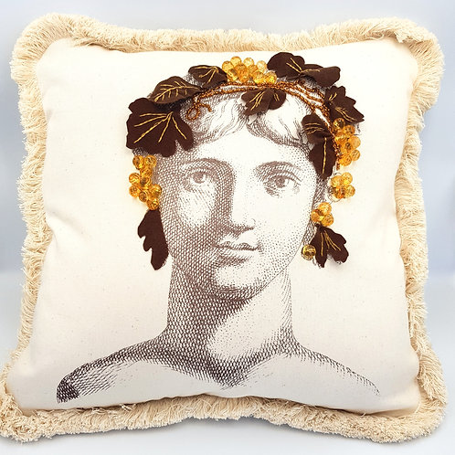 Silkscreen Cushion embroidered with beads