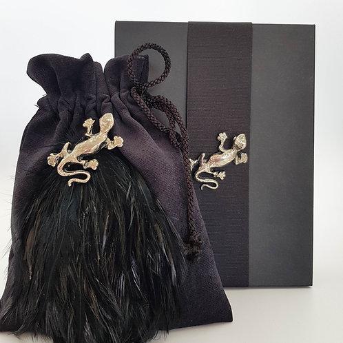 Black Suede Gekho Crystal Bag Boxed