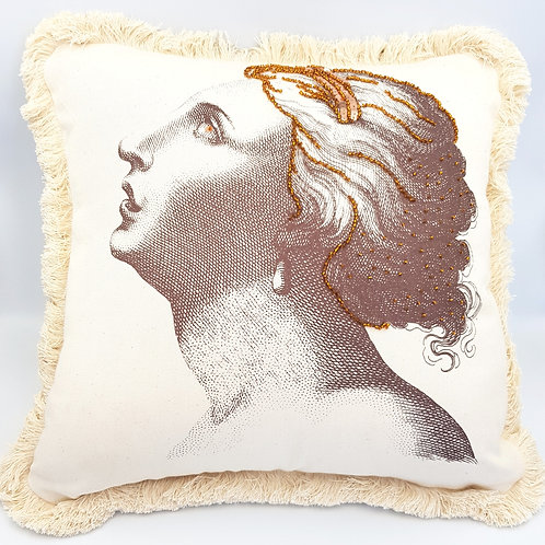 Silkscreen Cushion embroidered with beads and sequin