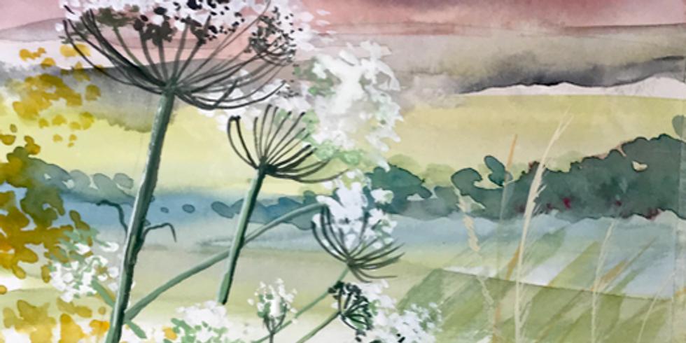Sunset Landscape - Watercolour and Gouache