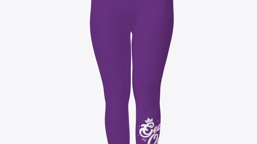 Geaux Queen Tights Purple with White