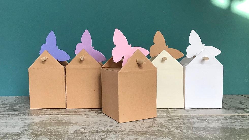 Scatolina House Box casetta piccola con bastoncino e decorazione colorata