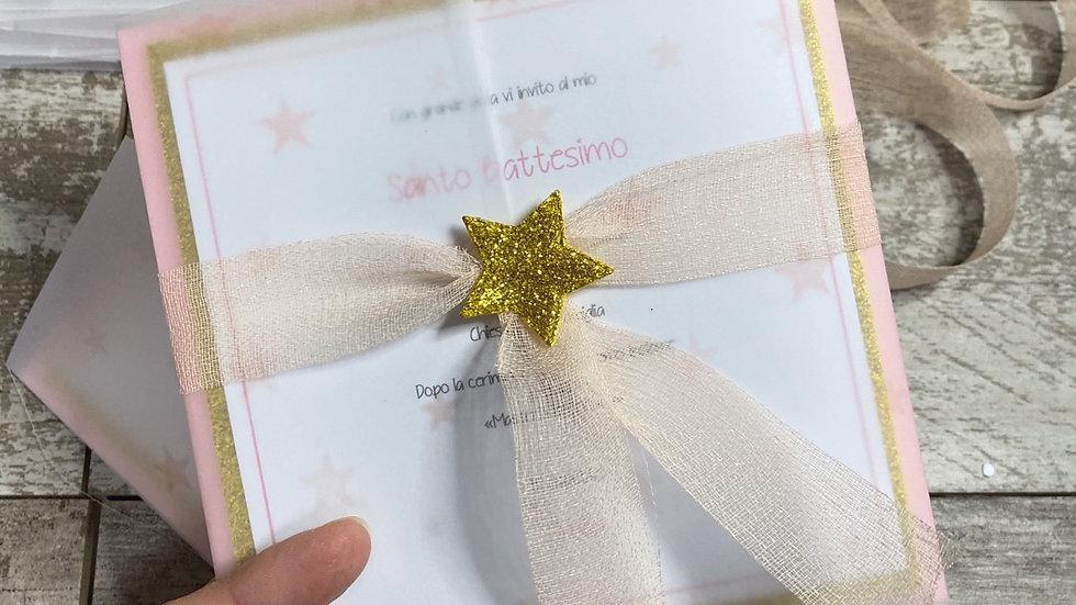 Biglietto invito Stars + tag + cordino + busta abbinati