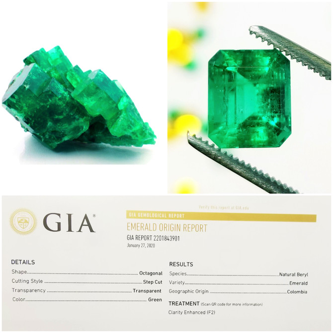 Colombian Emerald with GIA Report