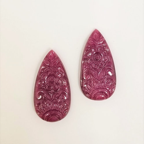 Ruby Carved Pear 73.88 cttw