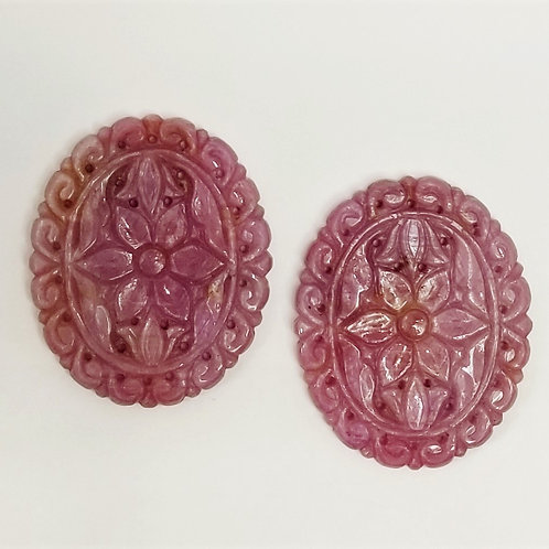 Carved Pink Sapphire 98.50 cttw