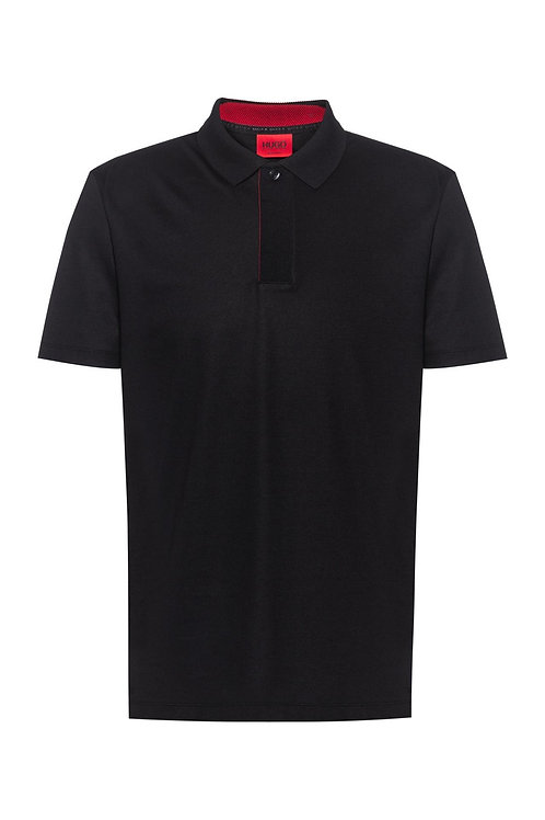 Regular Fit Covered Placket Polo in Black