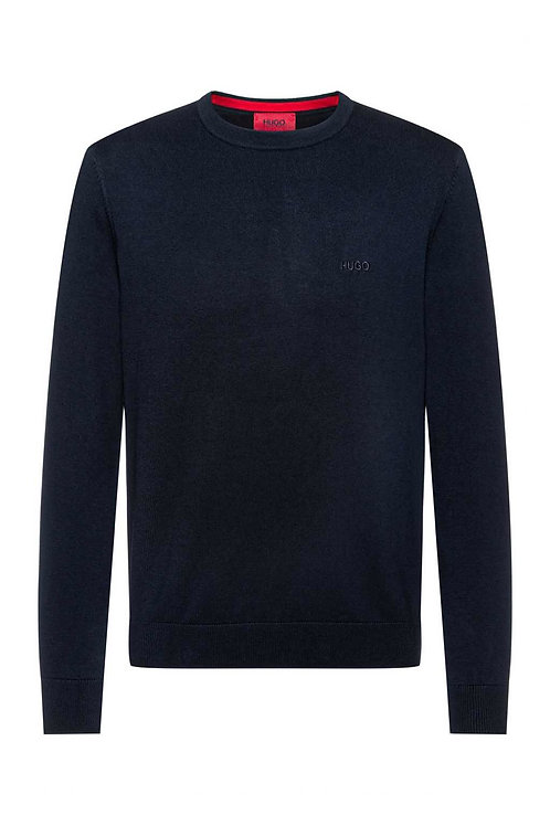 Crew-neck sweater in pure cotton with tonal logo in navy