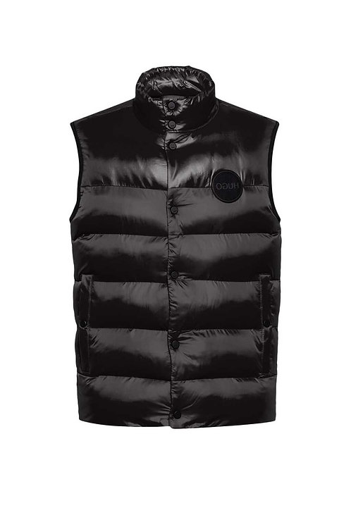 Padded Gilet with Reversed-Logo in Black