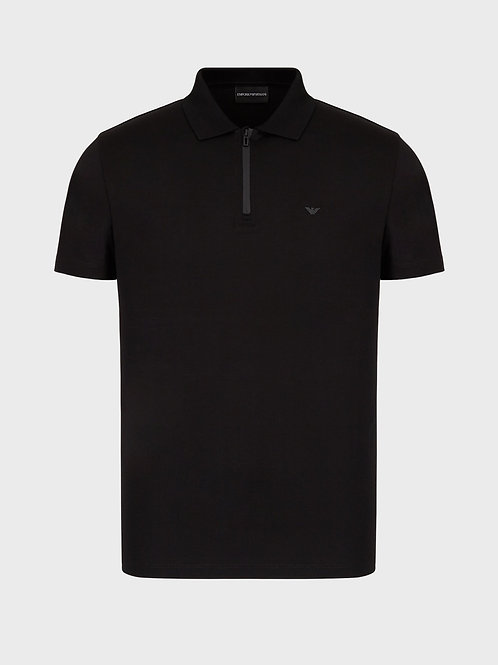 Travel Essentials Tencel blend polo shirt in black