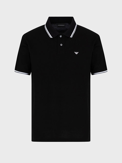Mercerised piqué polo shirt with striped trim in black