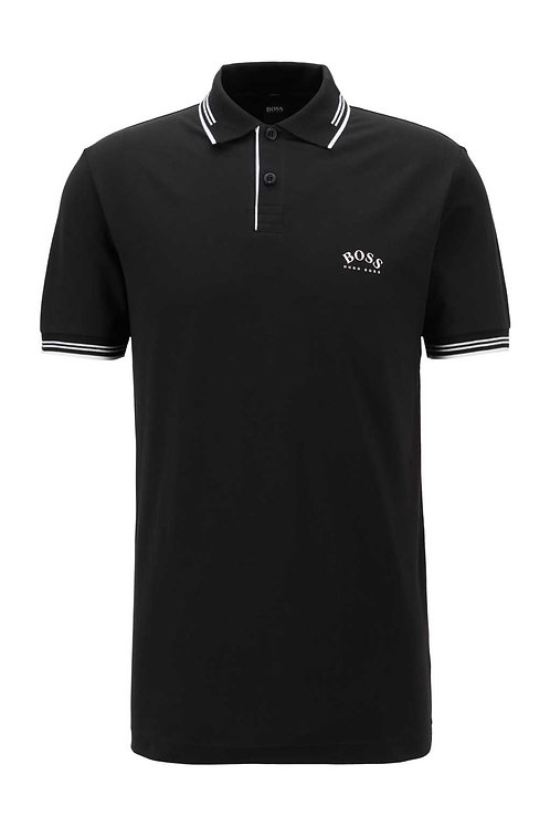 Slim-fit polo shirt with curved logo in black