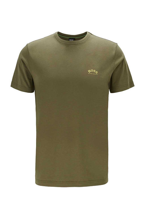 Cotton jersey T-shirt with curved logo in dark green