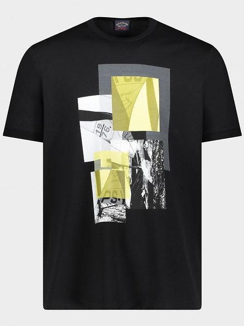 Organic Cotton T-Shirt With Regatta Print in black