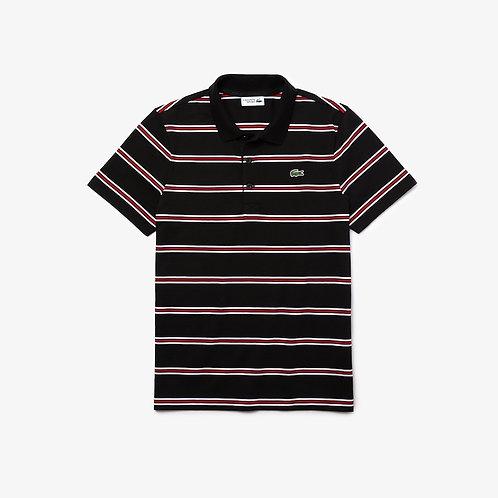 Lacoste SPORT Striped Cotton Polo Shirt in Black
