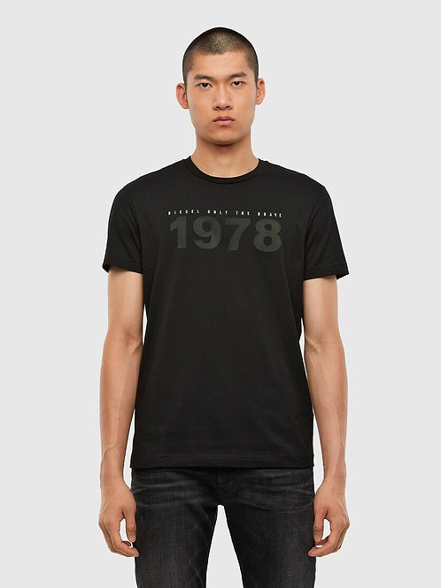 Rubberised Print T-Shirt in Black