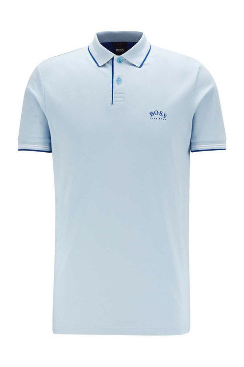 Slim-fit polo shirt in stretch piqué with curved logo in sky