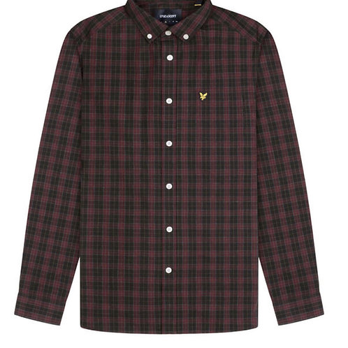 Lyle & Scott Check Poplin Shirt in Red