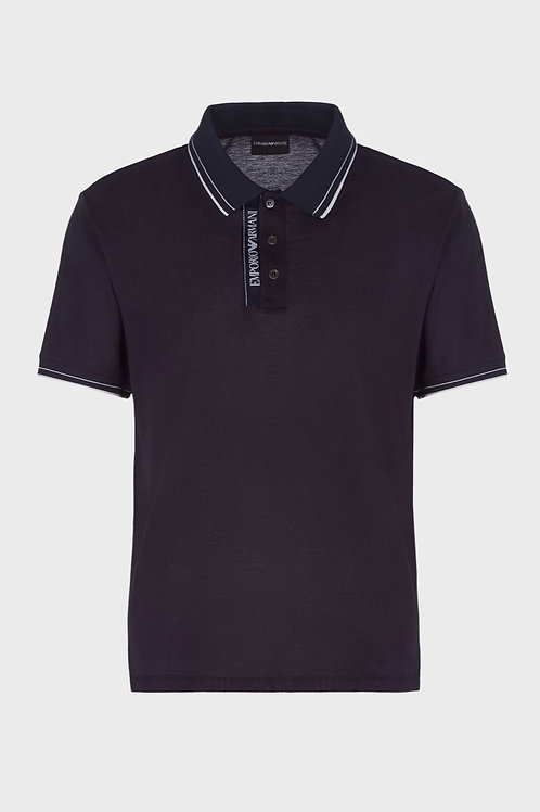 Tape Logo Polo in Navy