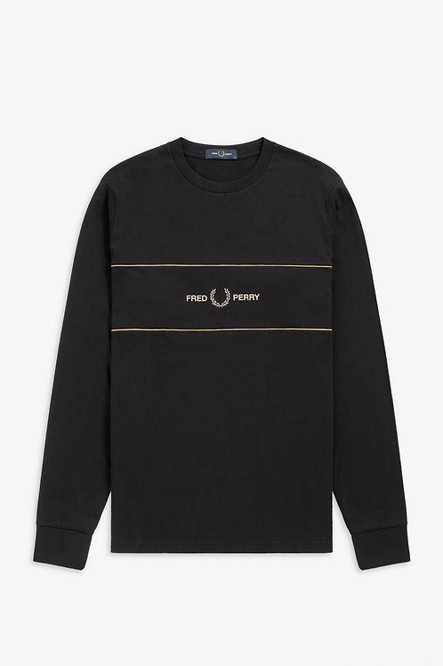 Embroidered Panel L/S T Black