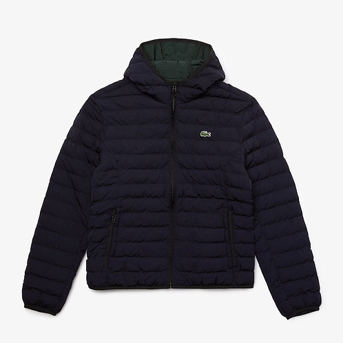 Lacoste Lightweight Hooded Puffer in Navy