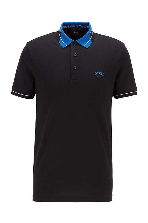 Checked Collar Polo in Black/Blue