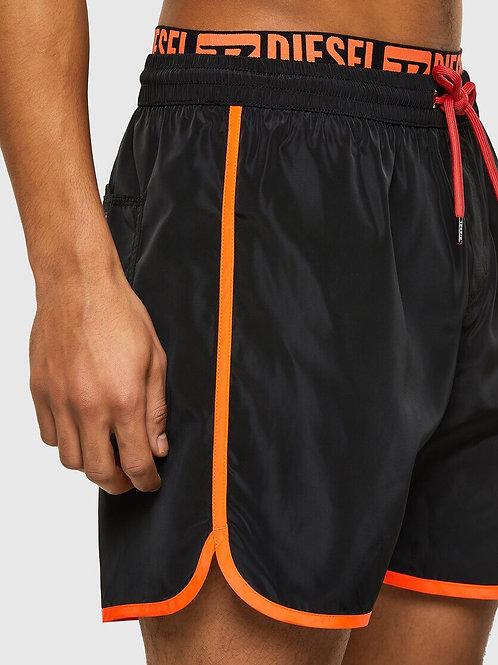 Double Waist Swim Shorts in Black