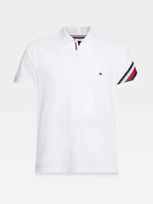 Sleeve Tape Slim Fit Polo In White