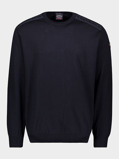 Wool Jumper with Nylon Details in Navy