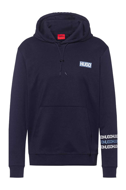cotton hooded sweatshirt with tyre-print logos in navy