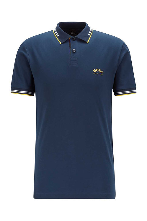 Slim-fit polo shirt with curved logo in dark blue