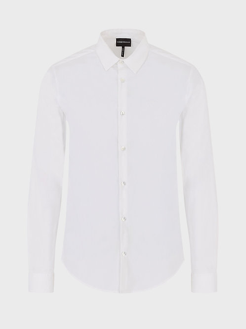 Stretch cotton canvas shirt in white