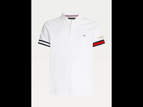 Embroidered Cuff Slim Fit Polo In White