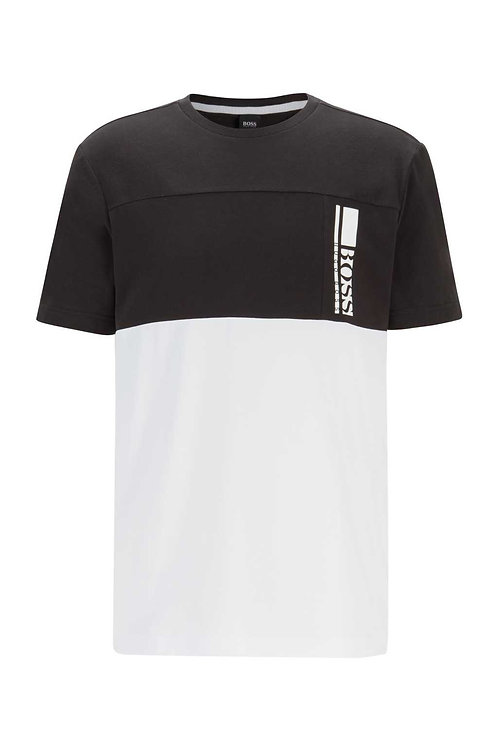 Colour-block logo T-shirt in stretch-cotton jersey in black
