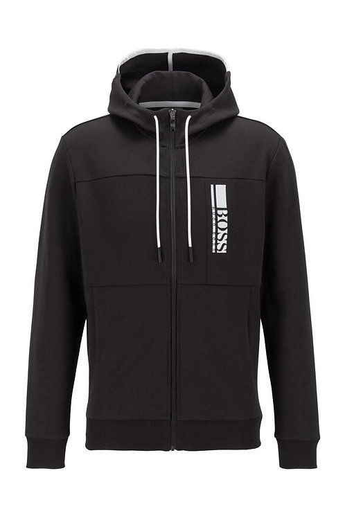 Interlock zip-through hooded sweatshirt with colour-block logo in black