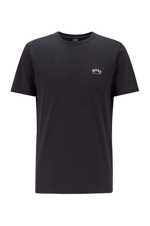 Cotton jersey T-shirt with curved logo in black