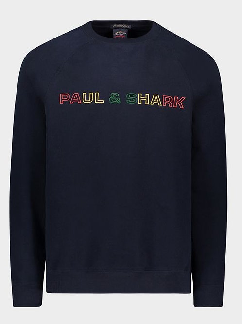 Embroidered Paul and Shark Crew in Navy