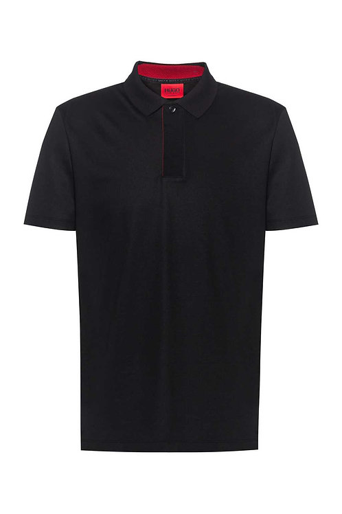Cotton-blend polo shirt with covered placket in black