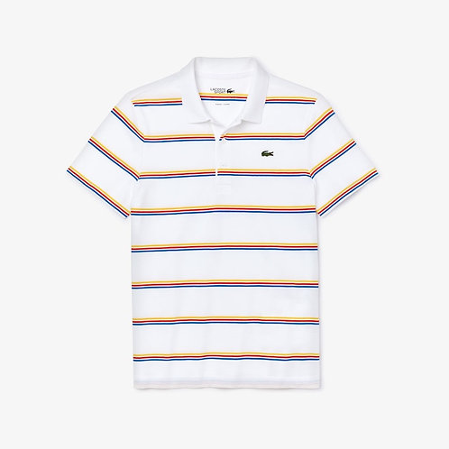Lacoste SPORT Striped Cotton Polo Shirt in White