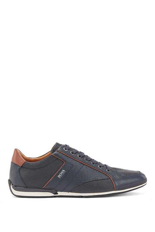 Saturn Low Leather Trainers in Navy