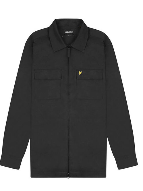 Lyle & Scott Cotton Nylon Overshirt in Black