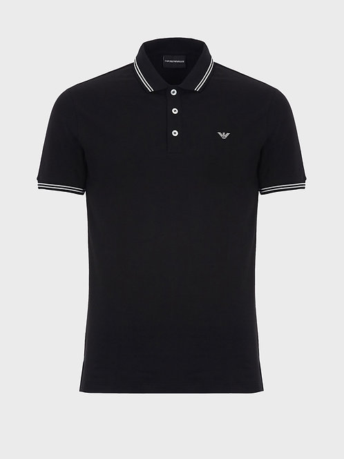 Cotton piqué polo shirt with contrasting logo on the chest in black