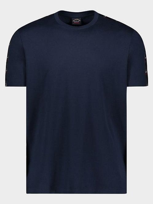 Sleeve Tape Logo T-Shirt in Navy