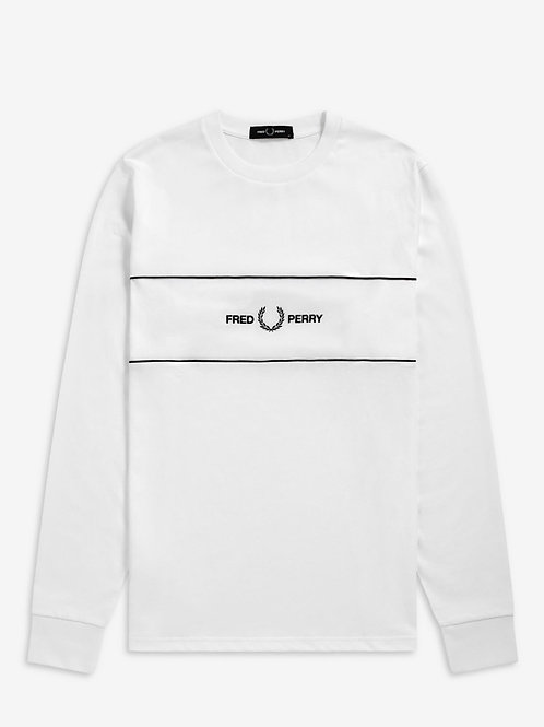 Embroidered Panel L/S T White