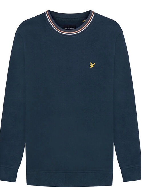 Lyle & Scott Tipped Pique Sweatshirt in Navy